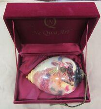 Ne'Qwa Art Glass Ornament by Stewart Sherwood Handpainted in Case