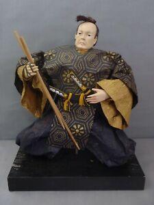 """JAPANESE 15"""" IRO KABUKI WARRIOR WOOD & PAPER HAND PAINTED STATUE DOLL"""