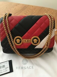 VERSACE Quilted Black/Red Leather Gold Chain Medusa Bag $2475 AUTHENTIC w/tags