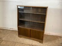 Vintage Mid Century Herbert E Gibb Glass Door Cabinet Bookcase