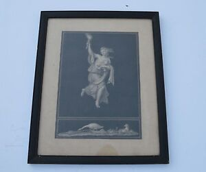 ANTIQUE BEAUTIFUL FRAMED PRINT DEPICTS PRETTY NYMPH,ANIMALS REPRESENTING MORNING