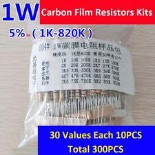 1Set 1W Carbon Film Resistors Kits ±5% (1KΩ to 820KΩ) -30 Values Each 10PCS