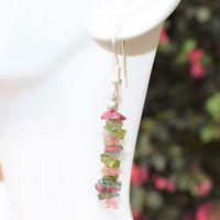 CHARGED Rainbow Tourmaline Crystal Chip Earrings  REIKI Energy! ZENERGY GEMS™
