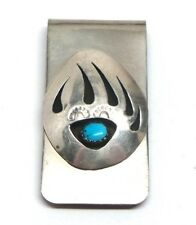 Navajo Handmade Sterling Silver Sleeping Beauty Turquoise Bear Claw Money Clip