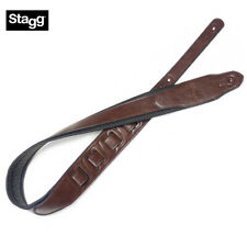 Stagg SPFL AGED LBRW Light Brown Padded Distressed Leather Flower Guitar Strap