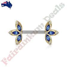 Blue Crystal Set Three Petal Flower Ends Gold IP Surgical Steel Nipple Barbells