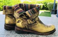 FELMINI Portugal Distressed Gold LEATHER Combat BOOTS Size 6
