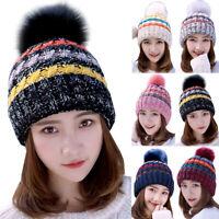 Winter Warm Women's Ladies Cable Bobble Knit Beanie Hat Slouchy Ski Pom Pom Caps