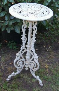 Blumen Tisch Gußeisen weiß shabby vintage (2)