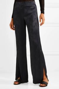 Theory Navy Satin Floral Jacquard Wide Leg Pants Size US 4 AUS 8 Slit Womens