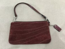 Authentic COACH Wrislet Coin Purse Clutch Maroon Suede Leather From USA [B]
