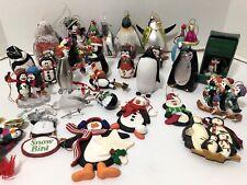 Large Lot Of Vintage Penguin Christmas Ornaments