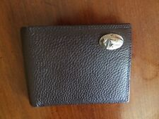 New Zep-Pro Brown Largemouth Bass Fish Crazy Horse Leather Bifold Wallet
