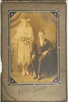 "Vintage Wedding Photo Bride & Groom 4"" X 6"" Black and White Cabinet Photo"