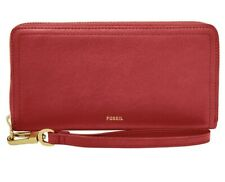 Fossil Logan RFID Zip Around Leather Clutch Wallet Poppy Red BNWT