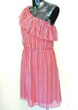 BISOU BISOU Dress Womens 8 One Shoulder Ruffle Flounce Striped Pull On M Summer