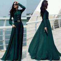 Summer Boho Maxi Dress Womens Long Sleeve Beach Dresses Evening Party Dress S-XL