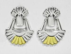 Vintage TAXCO Earrings Sterling Silver Earrings 925 Earrings Silver Rope TM-193 Mexico Earrings Post Earrings Large Earrings Dangle Earrings