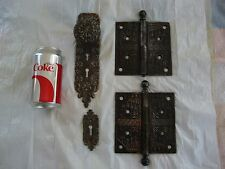 Set of Antique Victorian Arts & Craft Doorknobs,?? 5x5 Hinges, Key Plates Locks