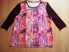 Tolles Slinky Jersey-Shirt aubergine/bunt v.DuJolie,Gr.50/52,Stretch,3/4 Arm,Neu