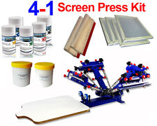 4 Color Screen Printing Kit Adjustable Press Stretched Frame Squeegee Pigment