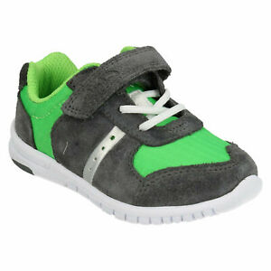 BOYS CLARKS AZON FLEX INFANT HOOK & LOOP CASUAL TODDLER SHOES FIRST TRAINER SIZE