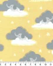 New ListingMagic Moon Nursery Flannel Bty (Yd) - Harper Yellow Elephants And Clouds