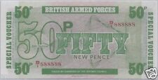 1972 BRITISH ARMED FORCES 50 PENCE # 888888  6TH SERIES UNC SOLID 8's BANKNOTE