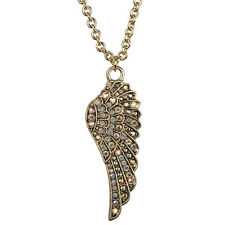 """NEW KIRKS FOLLY FLY HOME ANGEL WING 30"""" LONG NECKLACE  GOLDTONE"""