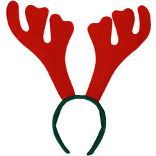 RED REINDEER ANTLERS ON HEADBAND CHRISTMAS STAG FANCY DRESS PARTY XMAS RUDOLPH