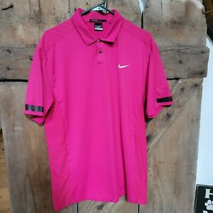 Nike Tiger Woods Collection Dri Fit Golf Polo Pink size Medium Casual