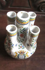 French Faience  5 Finger Spout handpainted Vase  Armorial Rouen Devres signed