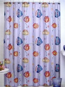 Tropical Bath Shower Curtain FISH PLAYGROUND Blue Bold Colors & Bubbles All Ages