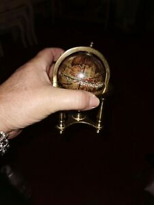Globe Miniture Brass Stand Revolving Vintage