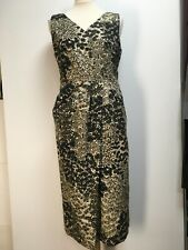 Dries van Noten ecru black taupe floral sleeveless dress cotton linen 42 14