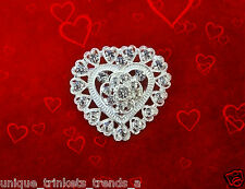 Rhinestone Silver Heart Brooch Pin~Valentines Mothers Day Birthday Gift For Her