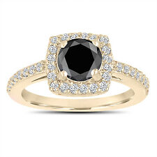 Enhanced Fancy Black Diamond Engagement Ring 14K Yellow Gold Pave Halo 1.41 Ct