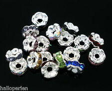 New 100 Mixed Rhinestone Rondelle Spacers Beads 6mm
