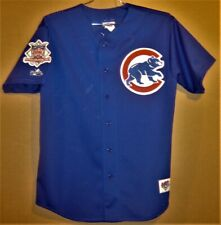 CHICAGO CUBS SAMMY SOSA BLUE MESH BUTTON-DOWN JERSEY BY MAJESTIC IN SIZE LARGE
