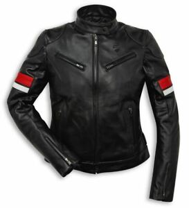 Ducati Urban Stripes Leather Jacket Women's Leisure Country