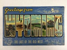"""Greetings from Wyoming """"The Last of the Old West"""" Linen State Postcard Unused"""