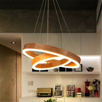 Modern Circular Ring Pendant Light Fixture Acrylic Wood Chandelier Ceiling Lamp