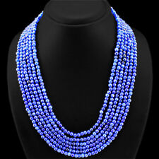 SUPERB EXCLUSIVE 475 CTS EARTH MINED BLUE SAPPHIRE 6 LINE ROUND BEADS NECKLACE