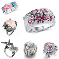 Trendy 925 Silver Pink Sapphire Ring Women Wedding Party Gift Jewelry Size 6-10