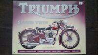 "TRIUMPH ""Speed Twin""  Placa metalica litografiada publicidad 41 x 30 cm. replica"