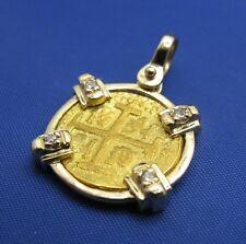 Solid 24k Gold Escudo Coin Pendant 14k Elegant Diamond Bezel Replica Spanish Cob