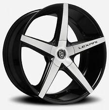 22 inch Lexani Wheels R-04 Stagger Black Rims Camaro X5 X6 Mustang Jaguar SLS