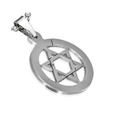 Stainless Steel Silver-Tone Jewish Star of David Charm Pendant Necklace