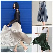 DA30 Metallic Accordion Knife Pleated Midi Skirt Steel Blue Gray Green Gold