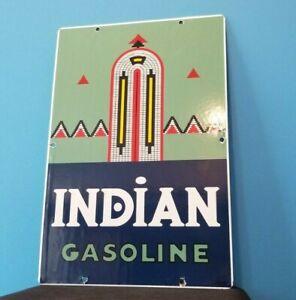 VINTAGE AMERICAN INDIAN GASOLINE PORCELAIN SERVICE INDIAN CHIEF GAS SERVICE SIGN